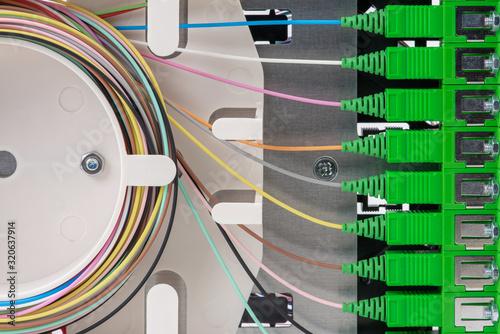 Fotografía Close-up Fiber Optic Distribution Frame in Telecommunication Optical Network