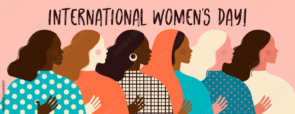 Fototapeta Female diverse faces of different ethnicity poster. Women empowerment movement pattern. International womens day graphic in vector.