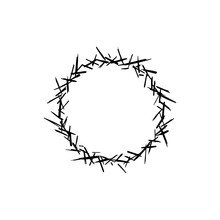 Crown Of Thorns Sketch Logo. Graphic Design For Card, Poster, Postcard, Sticker, Tee Shirt. Easter Religious Symbol Of Christianity. Crown Of Thorns Hand Drawn Vector Illustration.
