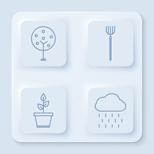 Set Line Tree, Garden Pitchfork, Plant In Pot And Cloud With Rain. White Square Button. Vector