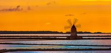 Marsala Salt Pans At Sunset, S...