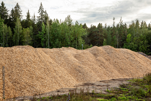 Fotografie, Obraz A large batch of waste, sawdust for processing in the woodworking industry