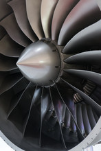 Close-up Of A Large Jet Engine Turbine Blades