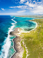 Aerial Panoramic Of Tropical Public Beach Washed By The Ocean Waves, Poste Lafayette, East Coast, Mauritius