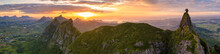 Aerial Panoramic Of Sunset Ove...