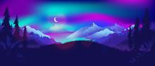 Northern Lights At Night Lands...