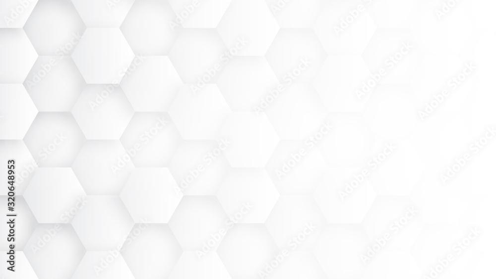 Fototapeta White 3D Hexagons Hight Technology Minimalist Abstract Background. Sci-Fi Tech Hexagonal Blocks Structure Conceptual Light Wallpaper In Ultra Definition. Clear Blank Subtle Textured Banner Backdrop