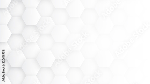 Fototapety, obrazy: White 3D Hexagons Hight Technology Minimalist Abstract Background. Sci-Fi Tech Hexagonal Blocks Structure Conceptual Light Wallpaper In Ultra Definition. Clear Blank Subtle Textured Banner Backdrop