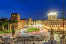 Piazza Venezia (Venice Square) With Traffic At Blue Hour Elevated View From Altare Della Patria (Altar Of The Fatherland), Rome, Lazio