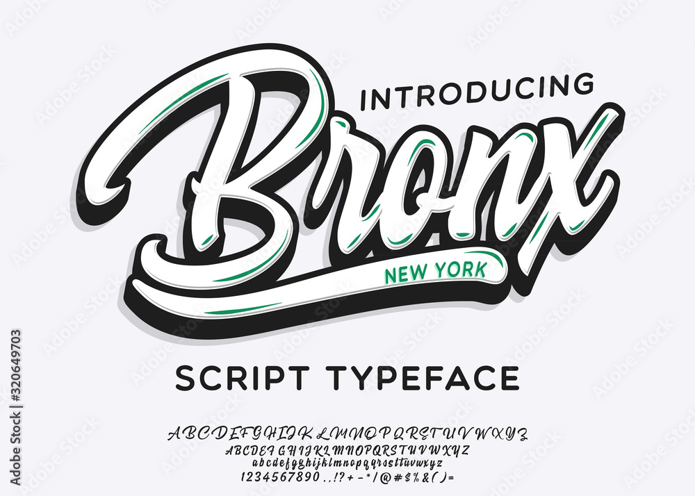 Fototapeta Bronx. New York City print. Hand made script font. Stylish badge for stickers or prints on clothes.