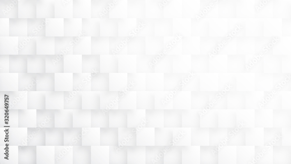 Conceptual 3D Tetragons Technologic Minimalist White Abstract Background. Science Technology Square Blocks Structure Light Wide Wallpaper. Three Dimensional Tech Clear Blank Subtle Textured Backdrop