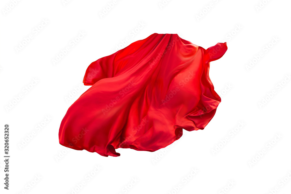 Fototapeta floating elegance glamour silk skirt long train. Beautiful flowing fabric flying wind. Red wavy satin. Abstract element cloth design. Image isolated white background. 3D rendering. natural soft light