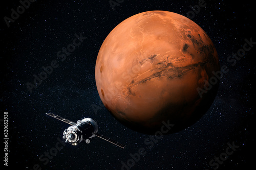 Stampa su Tela Exploration of Mars the Red planet of the solar system in space
