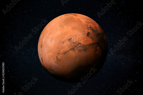 Obraz na plátne Exploration of Mars the Red planet of the solar system in space