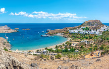 View Of Lindos Beach With Vill...