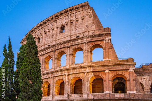 Fototapeta Rome, Italy - External walls of the ancient roman Colosseum - Colosseo - known a