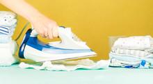 Woman Hand Pressing, Ironing. ...