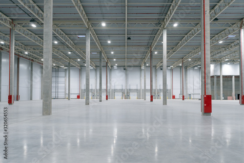 Large modern empty storehouse, nobody Wallpaper Mural