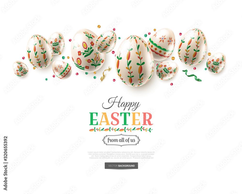 Fototapeta Modern Easter folk greeting card