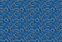Abstract Vector Seamless Pattern. Striped Curls Isolated On A Blue Background. Used Colors Of Pantone 2020 From Ponder Palette: Classic Blue, Provence, Cornhusk, Peach Quatrz. Tile Pattern.