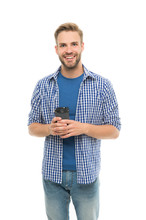 Your New Go-to Coffee Order. Happy Man Enjoy Drinking Coffee. Handsome Guy With Takeaway Coffee Isolated On White. Energy Drink. Morning And Breakfast. Speciality Blend. Great Coffee Freshly Roasted
