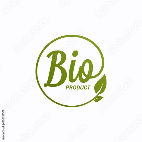 Photo Bio product design. Bio logo with leaf on white