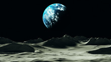 Planet Earth Viewed From The Moon 3d Illustration 3d Render
