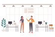 Office life people talking concept. Vector flat cartoon graphic design illustration