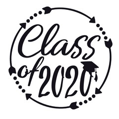 Class of 2020 with graduation cap and frame with arrows and dots