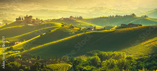 Langhe vineyards sunset panorama, Grinzane Covour, Piedmont, Italy Europe Fotobehang