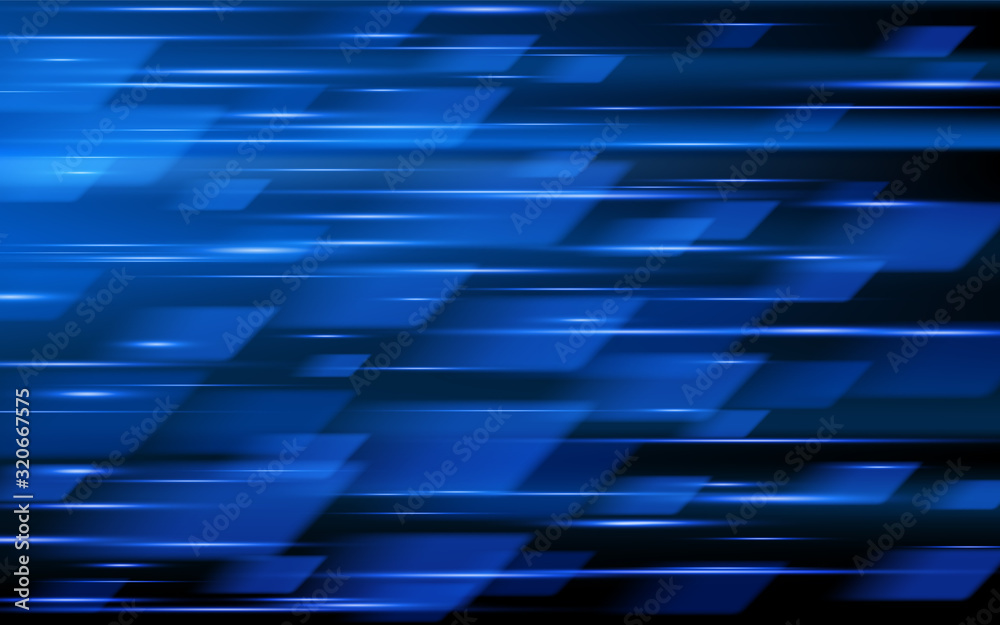 Fototapeta High speed. Blue abstract technology background. Vector illustration