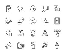 Set Approve Vector Line Icons. Contains Such Icons As Quality Check, Protection Guarantee, Accepted Document And More. Editable Stroke. 32x32 Pixels