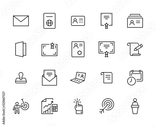 Set of Legal Documents Related Vector Line Icons Fototapet