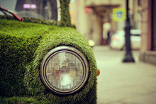 Headlight Of An Old Old Car In...