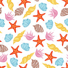 Summer Sea Seamless Pattern With Various Sea Shells On White Background