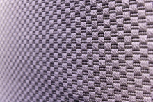 Light Purple Background Of Dense Woven Bagging Fabric, Closeup. Structure Of The Cloth With Natural Texture. Cloth Backdrop.