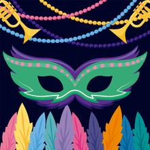 Mardi Gras Mask And Trumpets V...