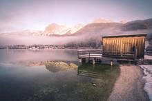 Wooden Pier At Mountain Lake I...
