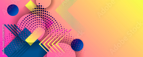 Bright juicy colors background with geometric elements, lines and dots for text, universal design, banner concept
