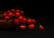 Fresh Red Tomatillos On Black ...