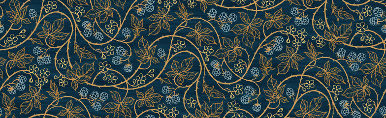 Floral botanical blackberry vines seamless repeating wallpaper pattern- rich ...