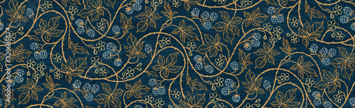 Obraz Floral botanical blackberry vines seamless repeating wallpaper pattern- rich gold and royal blue version - fototapety do salonu