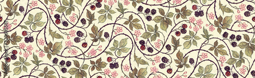 Photo Floral botanical blackberry vines seamless repeating wallpaper pattern- warm fad
