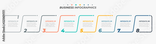 Fototapeta Thin line Infographic label design with number options.Timeline with 8 steps or process. Vector business template for workflow diagram, info chart, annual report, presentation. obraz na płótnie
