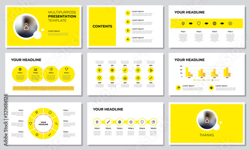 Yellow multipurpose presentation template with list, options, steps, timeline, workflow, graph, diagram Canvas Print
