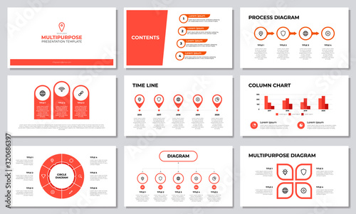 Photo Red multipurpose presentation template with list, options, steps, timeline, workflow, graph, diagram