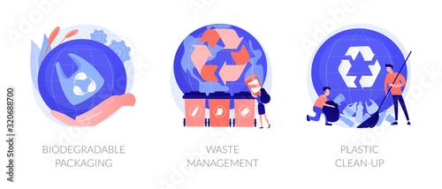 Zestaw ikon do sortowania i recyklingu śmieci. Problem zanieczyszczenia zbiorników wodnych. Opakowania biodegradowalne, gospodarka odpadami, metafory oczyszczania tworzyw sztucznych. Wektorowe metafory pojęcia odosobnione ilustracje