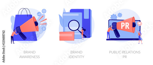 Obraz Commercial advertising service, company recognition, public relations management icons set. Brand awareness, brand identity, pr metaphors. Vector isolated concept metaphor illustrations - fototapety do salonu