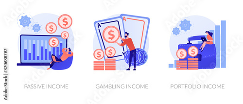 Fototapeta Money earning flat icons set. Business investment, profit increase, revenue growth. Passive income, gambling income, portfolio income metaphors. Vector isolated concept metaphor illustrations. obraz