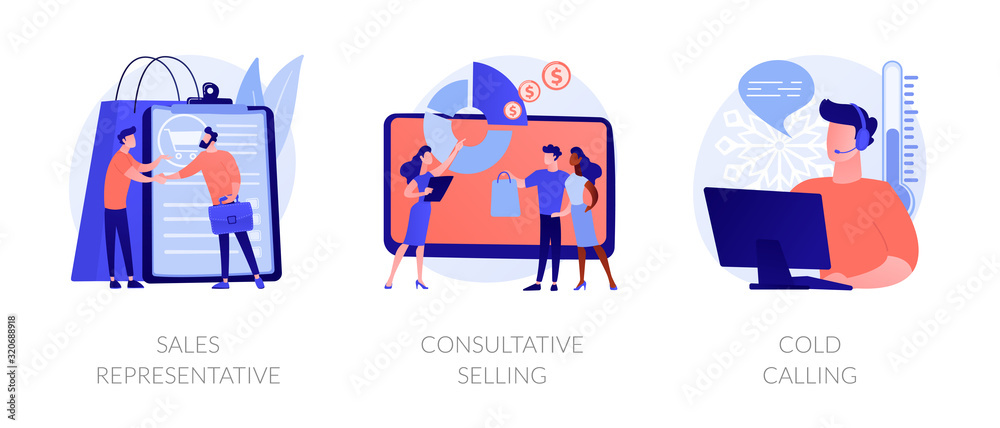 Fototapeta Marketing strategies. Sales promotion activities, customer support and advertising. Sales representative, consultative selling, cold calling metaphors. Vector isolated concept metaphor illustrations.